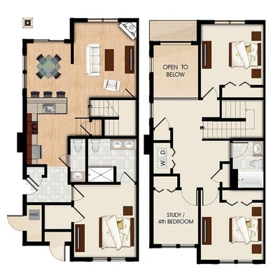 A - 3 Bed 2.5 Bath Townhouse + Study
