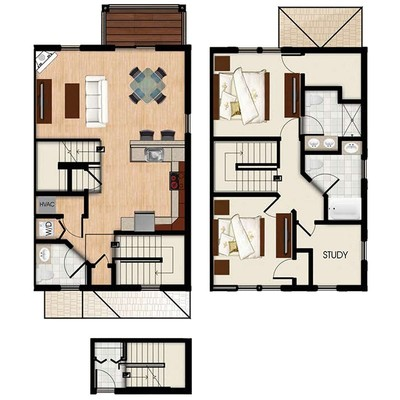 F - 2 Bed 2.5 Bath Townhouse + Study